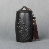 Chrysanthemum Pattern Stoneware Tea Cans Storage Tanks Ceramic Tea Set Tea Ceremony Accessories (Black)