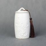 Chrysanthemum Pattern Stoneware Tea Cans Storage Tanks Ceramic Tea Set Tea Ceremony Accessories (White)