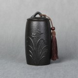 Orchid Pattern Stoneware Tea Cans Storage Tanks Ceramic Tea Set Tea Ceremony Accessories (Black)