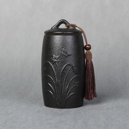 Orchid Pattern Stoneware Tea Cans Storage Tanks Ceramic Tea Set Tea Ceremony Accessories (Black)