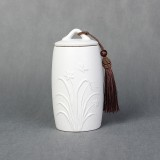 Orchid Pattern Stoneware Tea Cans Storage Tanks Ceramic Tea Set Tea Ceremony Accessories (White)