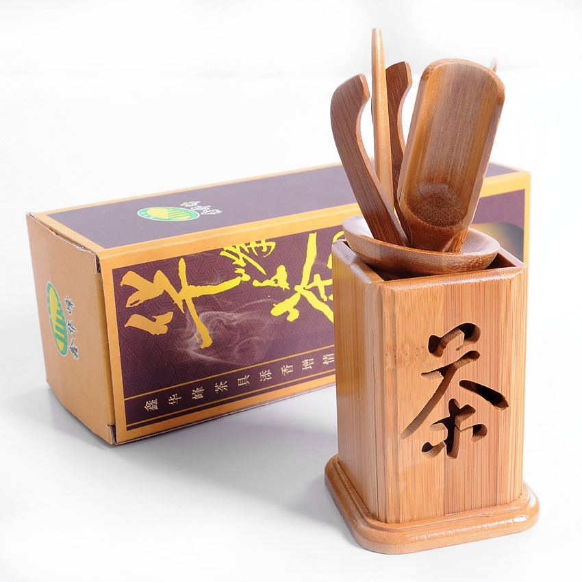6 in 1 Bamboo Teaspoon + Tea Needle + Tea Scoop + Tea Clip + Tea Leak + Square Hollow Tea Tin Set
