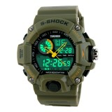 SKMEI 1029 Multifunctional Men Outdoor Sports Noctilucent Waterproof Double Display Watch (Army Green)
