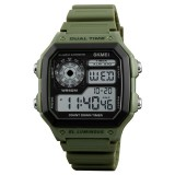 SKMEI 1299 Multifunctional Outdoor Sports Noctilucent Waterproof Digital Display Wrist Watch (Army Green)