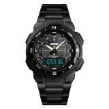 SKMEI 1370 Multifunctional Men Outdoor Sports Noctilucent Waterproof Stainless Steel Digital Wrist Watch (Black)