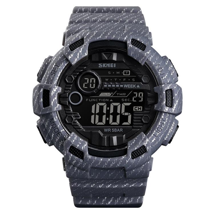 SKMEI 1472 Multifunctional Men Outdoor Sports Noctilucent Waterproof Didital Wrist Watch (Grey)