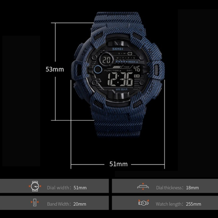 SKMEI 1472 Multifunctional Men Outdoor Sports Noctilucent Waterproof Didital Wrist Watch (Khaki)