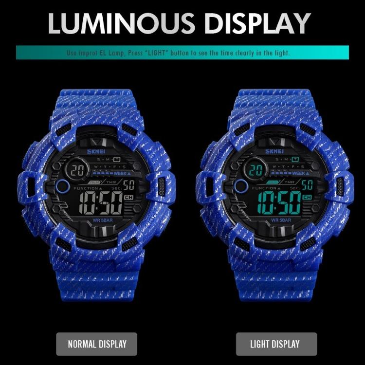 SKMEI 1472 Multifunctional Men Outdoor Sports Noctilucent Waterproof Didital Wrist Watch (Baby Blue)
