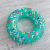 Ice Cream Pattern Inflatable Swimming Ring Thickening Water Ring Lifesaving Ring Suitable for Children Aged 5-9, Size: 70cm (Blue)
