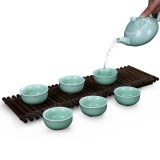 7 in 1 Kiln Celadon Ceramic Tea Set Kung Fu Pot Infuser Teapot 3D Fish Serving Cup Teacup Chinese Drinkware with Gift Box