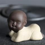 Colored Sand Ceramic Kungfu Little Monk Decorative Ornaments Creative Home Desktop Tea Pet Teaware Crafts (Light Yellow)