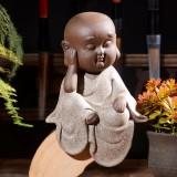 Colored Sand Ceramic Kungfu Little Monk Decorative Ornaments Creative Home Desktop Tea Pet Teaware Crafts (1)