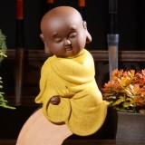 Colored Sand Ceramic Kungfu Little Monk Decorative Ornaments Creative Home Desktop Tea Pet Teaware Crafts (2)