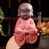 Colored Sand Ceramic Kungfu Little Monk Decorative Ornaments Creative Home Desktop Tea Pet Teaware Crafts (3)