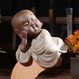 Colored Sand Ceramic Kungfu Little Monk Decorative Ornaments Creative Home Desktop Tea Pet Teaware Crafts (4)