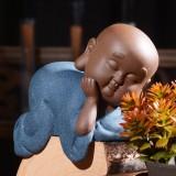 Colored Sand Ceramic Kungfu Little Monk Decorative Ornaments Creative Home Desktop Tea Pet Teaware Crafts (5)