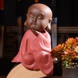 Colored Sand Ceramic Kungfu Little Monk Decorative Ornaments Creative Home Desktop Tea Pet Teaware Crafts (6)