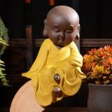 Colored Sand Ceramic Kungfu Little Monk Decorative Ornaments Creative Home Desktop Tea Pet Teaware Crafts (7)