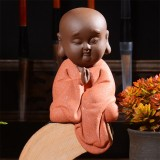 Colored Sand Ceramic Kungfu Little Monk Decorative Ornaments Creative Home Desktop Tea Pet Teaware Crafts (8)