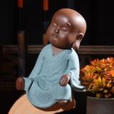 Colored Sand Ceramic Kungfu Little Monk Decorative Ornaments Creative Home Desktop Tea Pet Teaware Crafts (10)