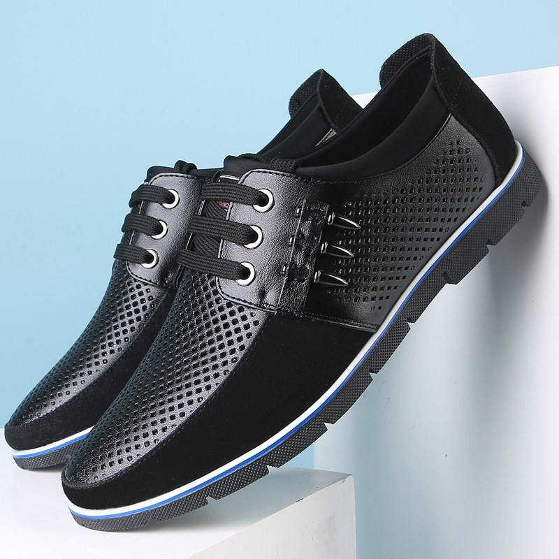 Men Hollow Out Comfy Breathable Lace Up Soft Casual Cow Leather Oxfords