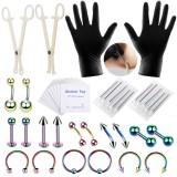 42PCS Professional Body Piercing Tool Kit Ear Nose Navel Nipple Needle Set
