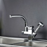 BOiROO Kitchen Sink Faucet Hot and Cold Water Mixer Faucet Double Handle Bar Tap With Pull Down Sprayer
