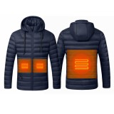 Waterproof Electric USB Heatiing Warm Hooded Jacket Winter Heated Back + Abdomen + Neck Coats Jacket 3 Temperature Control