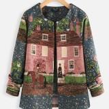 Ethnic Jacquard Crew Neck Long Sleeve Vintage Jackets Coats