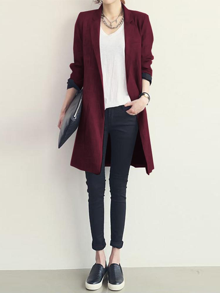 Women Collared Button Down Blazer Coats Knee Length Coats