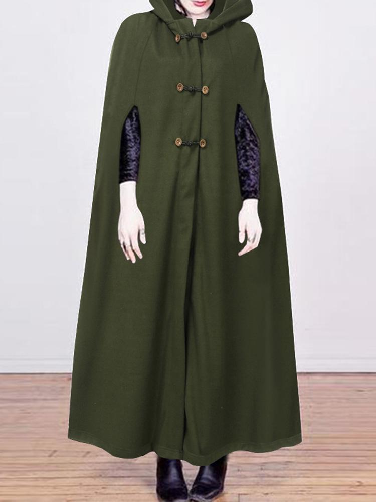 Women Casual Pure Color Button Hooded Cloak Coats