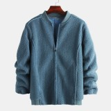 Mens Woolen Stand Collar Pure Color Thick Zipper Single Breasted Casual Jacket