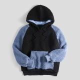 Fashion Mens Patchwork Drawstring Hooded Long Sleeve Casual Sweatshirt