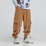 Mens Vintage Corduroy Elastic Waist Big Pockets Casual Pants