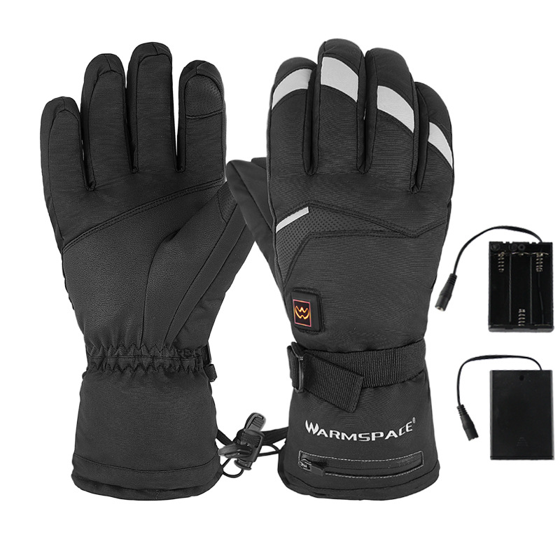WARMSPACE WS-GA680B 5Modes Waterproof Windproof Electric Heated Gloves Outdoor Skiing Riding Touch Screen Gloves Winter Warm Glove-S/L
