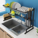 Black 304 Stainless Steel Kitchen Shelve Drain Rack Sink Rack Bowl Dish Dish Utensils Drain Rack Kitchen Storage Rack