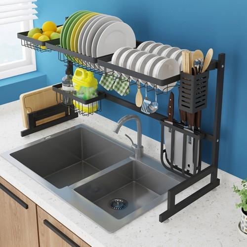 Black 304 Stainless Steel Kitchen Shelve Drain Rack Sink Rack Bowl Dish Dish Utensils Drain Rack Kitchen Storage Rack