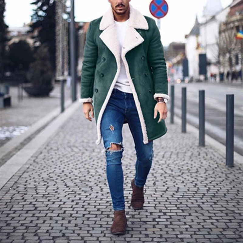 Mens Woolen Pockets Thick Warm Single Breasted Mid Long Casual Coats
