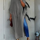 Women Batwing Short Sleeve Long Shirt Dress High Split Jumper Blouse Tops