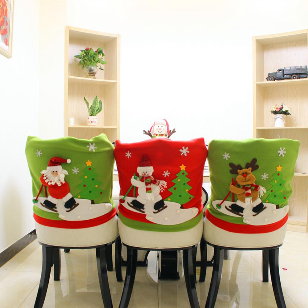 Loskii Christmas Chair Cover Cartoon Christmas Santa Claus ...