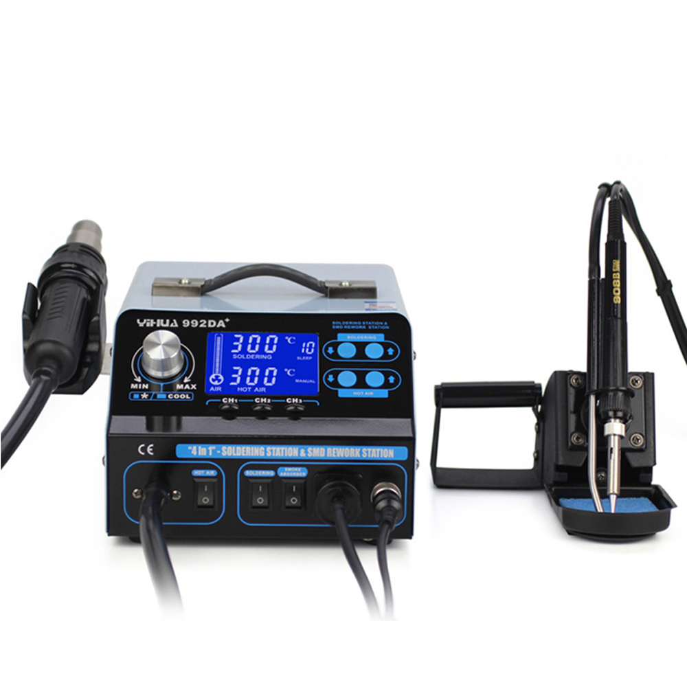 YIHUA 992DA+ 4 in 1 LCD Digital Hot Air Gun Soldering Station + Vacuum Pen + Smoking Electric Soldering Iron BGA Rework Station