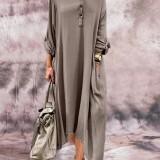 Women Long Sleeve Button Long Sleeve Maxi Dress