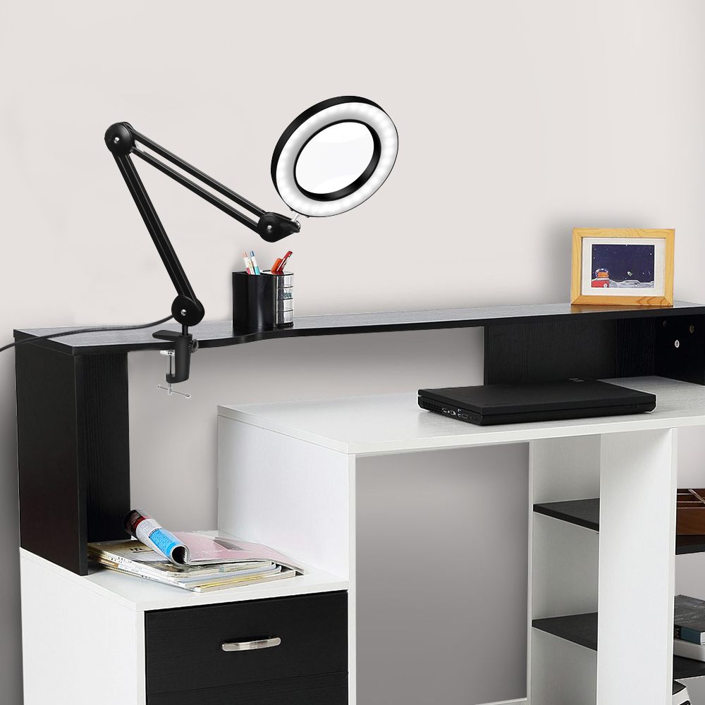 YG-810-2 5X 780mm Magnifying Lamp Illuminated Desktop Magnifier LED Lamp with 84mm Clamp Swivel Arm or Reading with Dust Cover Care Tools