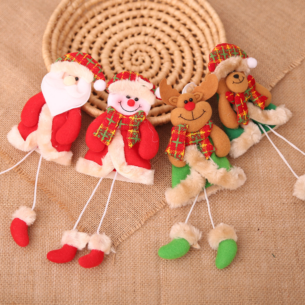 Loskii Christmas Decorations Christmas Tree Elk Doll Santa Snowman Ornaments New Year Decoration