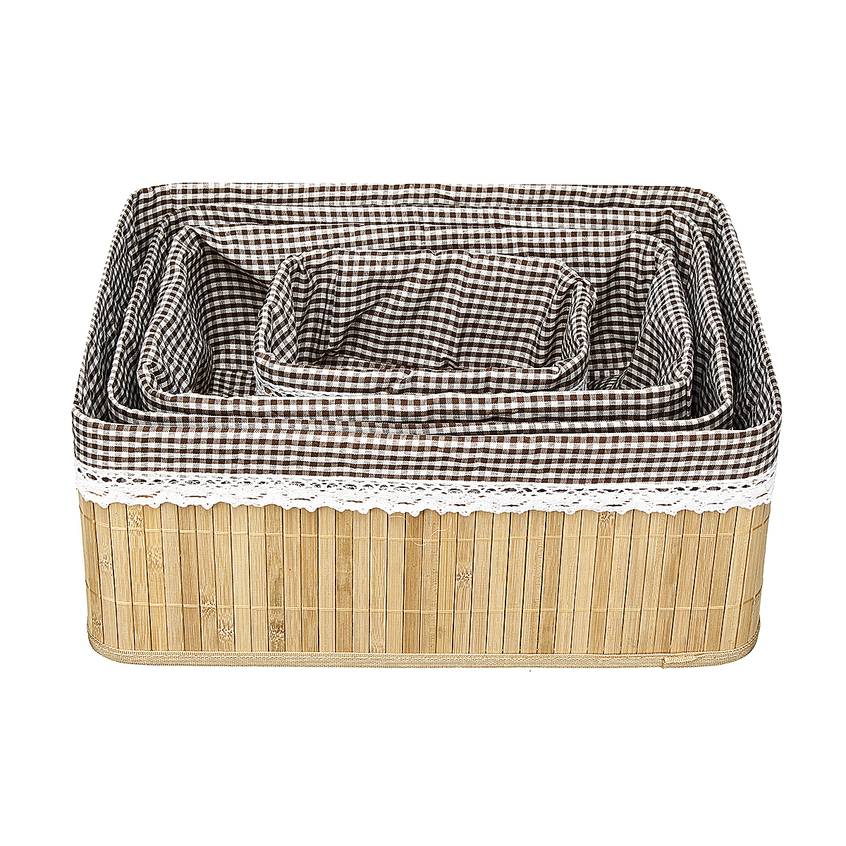 Bamboo Weaving Storage Baskets Picnic Grocery Snacks Toy Box Desktop Organizer