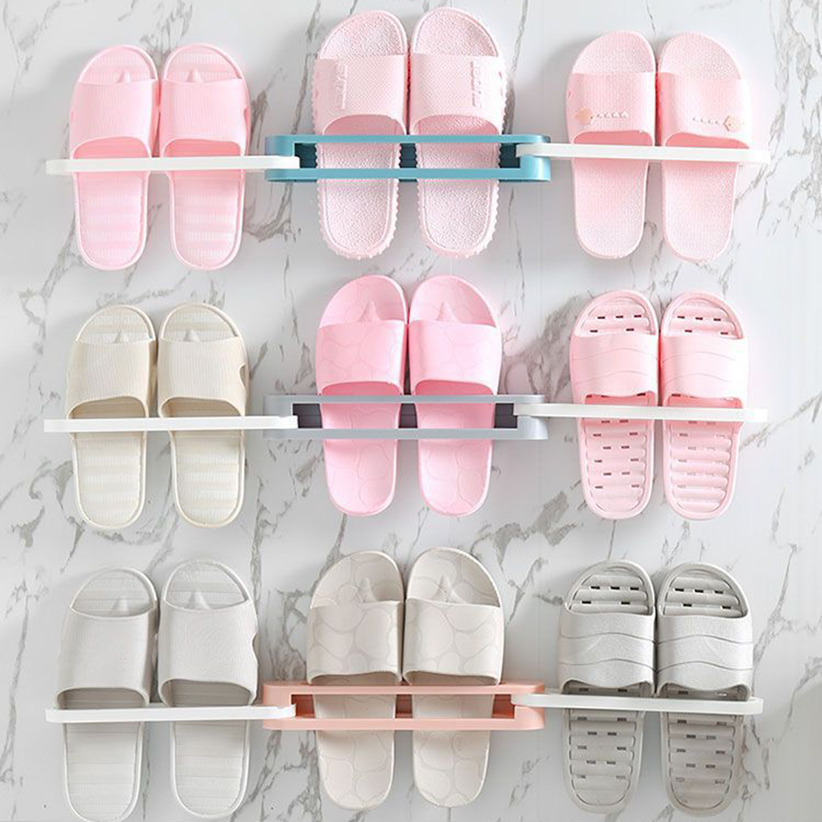 3 in 1 Home Wall-Mounted Shoes Shelf Racks Slippers Shoes Holder Shoes Storage Rack Shoes Organizer