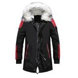 Mens Fashion Fur Hooded Zipper Jacket Multi Pockets Warm Thickened Outdoor Coats