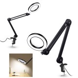 YG-810-1 5X 780mm Magnifying Lamp Illuminated Desktop Magnifier LED Lamp with 81mm Clamp Swivel Arm or Reading with Dust Cover Care Tools