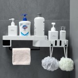 Punch-Free Shower Storage Corner Rack Shelf Hanger Bathroom Kitchen Wall Mounted