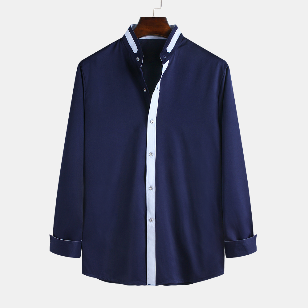Mens Collar Patchwork Color Casual Fashion Long Sleeve Simple Shirts